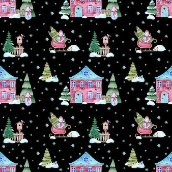 Watercolor seamless pattern of christmas winter night with home