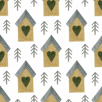 Watercolor seamless pattern of fir trees houses