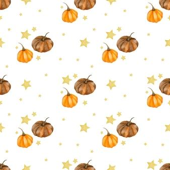 Акварель бесшовные модели для счастливого хэллоуина осень привет октябрь