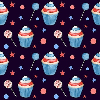 Watercolor seamless pattern fourth of july with cupcakes and sticks