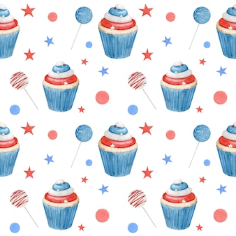 Watercolor seamless pattern fourth of july with cupcakes