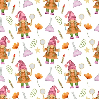Watercolor seamless pattern gnomes back to school forest school