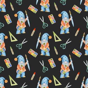 Watercolor seamless pattern gnomes back to school forest school Premium Photo