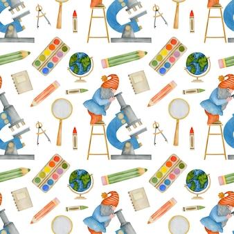 학교 숲 학교에 다시 수채화 원활한 패턴 격언