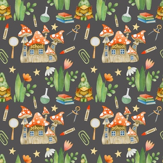 Watercolor seamless pattern gnomes at school on a dark background school supplies