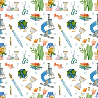 Watercolor seamless pattern gnomes at school on a white background school supplies