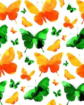 Акварель бесшовный фон зеленые и желтые силуэты бабочек абстрактный фон
