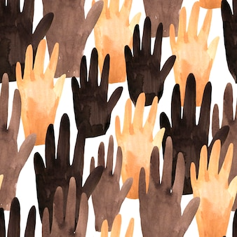Watercolor seamless pattern of hands for black lives matter