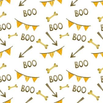 Акварель бесшовные модели счастливого хэллоуина кость стрелка бу флаги на белом фоне