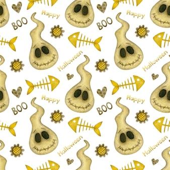Акварель бесшовные модели счастливого хэллоуина призраки рыб скелет сердца на белом фоне Premium Фотографии