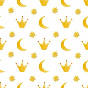 Watercolor seamless pattern moon crown star