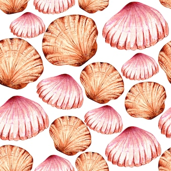 Watercolor seamless pattern of multi colored seashells .