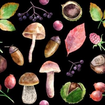 秋の収穫の水彩画のシームレスなパターン。