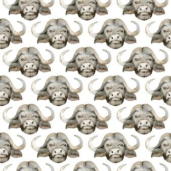 黒のアフリカスイギュウの頭の水彩画のシームレスなパターン。