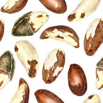 Акварель бесшовные модели бразильских орехов