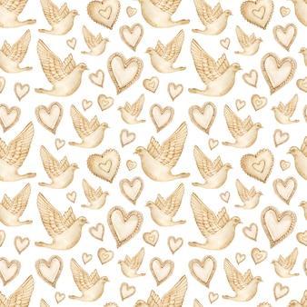 갈색 하트와 비둘기의 수채화 완벽 한 패턴입니다.