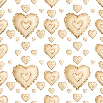 茶色の心の水彩のシームレスなパターン