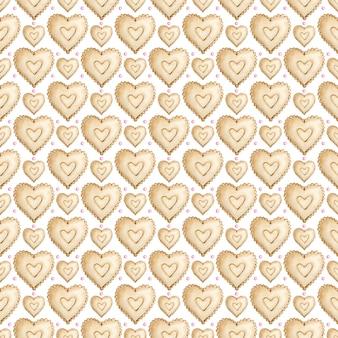 갈색 하트의 수채화 완벽 한 패턴입니다.