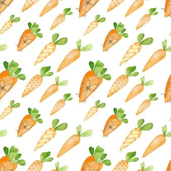 漫画スタイルのオレンジ色のニンジンの水彩画のシームレスなパターン。ハッピーイースター手描きの背景。キッズスタイルのイースターバニーのためのニンジン。