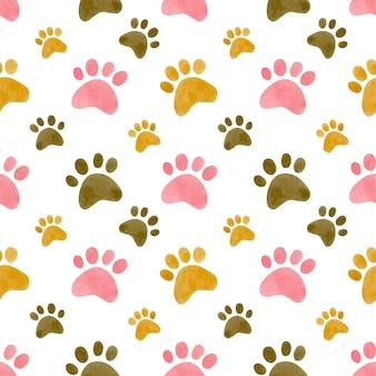 猫の足のプリントの水彩画のシームレスなパターン猫の足の水彩画の背景