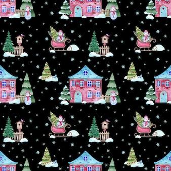 家とクリスマス冬の夜の水彩シームレスパターン