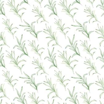 ユーカリの枝の水彩画のシームレスなパターン