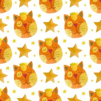 왕관 고양이 수채화 배경에 고양이의 얼굴의 수채화 원활한 패턴