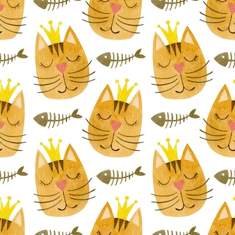 王冠の猫の顔の水彩のシームレスなパターン猫の水彩画の背景