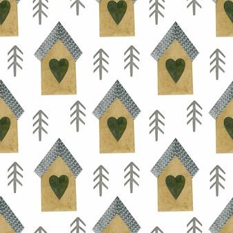 전나무 집의 수채화 원활한 패턴