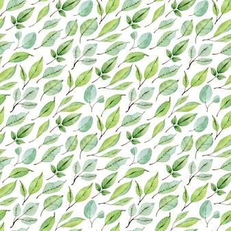 緑の葉の水彩画のシームレスなパターン。