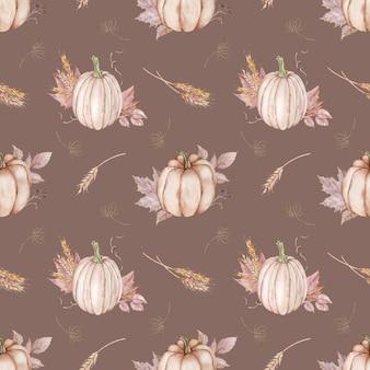秋の葉、小麦の穂、ディルとカボチャの水彩画のシームレスなパターン。