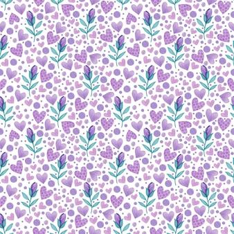 白い背景の上の紫色の春の花とハートの水彩のシームレスなパターン