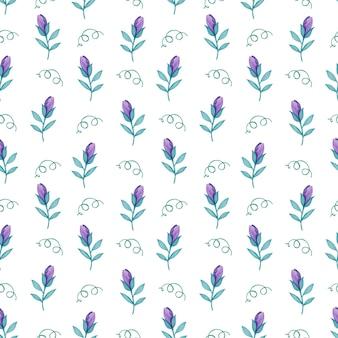 白い背景の上の紫色の春の花の水彩のシームレスなパターン