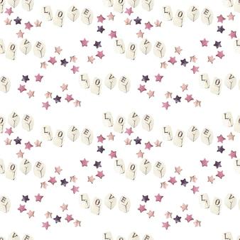 별과 사랑 단어의 수채화 원활한 패턴