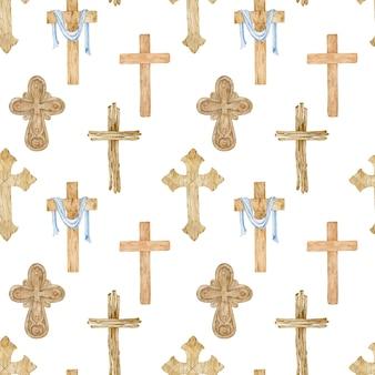나무 기독교 십자가의 수채화 원활한 패턴