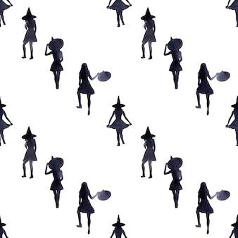 휴일 할로윈 테마에 수채화 원활한 패턴입니다. 특징적인 특성 및 특성