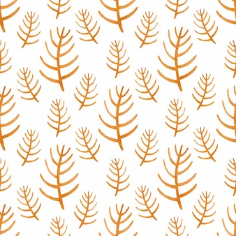 스칸디나비아 스타일의 수채화 원활한 패턴 오렌지 지점