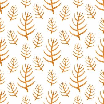 Watercolor seamless pattern orange branch in the scandinavian style