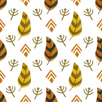Watercolor seamless pattern orange feather in boho style