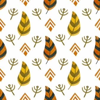 Boho 스타일의 수채화 원활한 패턴 오렌지 깃털