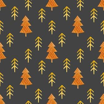 Watercolor seamless pattern orange fir trees