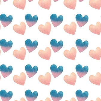 Watercolor seamless pattern in pastel colors on white for valentine's day.