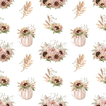 Watercolor seamless pattern of pastel pumpkins decorated with sunflowers