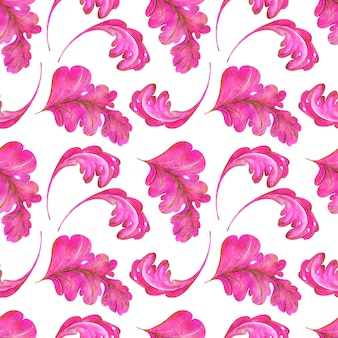 Watercolor seamless pattern of pink and gold leaves with swirls of a fantasy plant