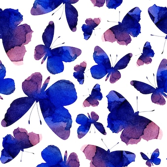 Watercolor seamless pattern purple silhouettes of butterflies. abstract background with insects isolated on white background. drawn by hand.