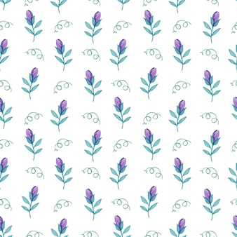Watercolor seamless pattern of purple spring flowers on a white background