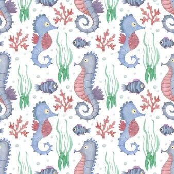 수채화 원활한 패턴 해마와 흰색 배경에 물고기 바다 친구 배경
