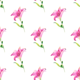 Watercolor seamless pattern of summer flowers and leaves on a light background