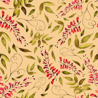 Watercolor seamless pattern of summer flowers and leaves on a light background.