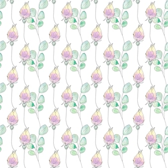 Watercolor seamless pattern of summer flowers and leaves